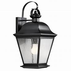 kichler vernon 19 5 in h black outdoor wall light at lowes com