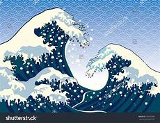 the wave of a japanese painting stock vector illustration