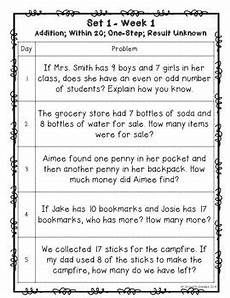 2nd grade math word problem worksheets printable 11445 one a day word problems for 2nd grade set 1 common tpt