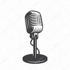 Vector Illustration Of Isolated Retro Vintage Microphone