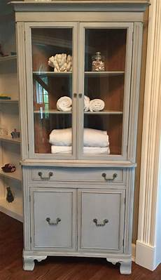 shabby chic vintage corner cabinet painted with as