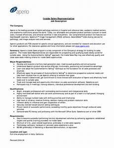 sales representative description for resume