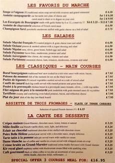 menu traditionnel français menu at le marche francais restaurant edinburgh