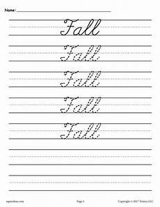 10 Free Cursive Handwriting Worksheets Seasons And