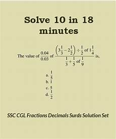 decimal bodmas worksheets 7063 ssc cgl level solution set 47 fractions decimals and surds 2 suresolv