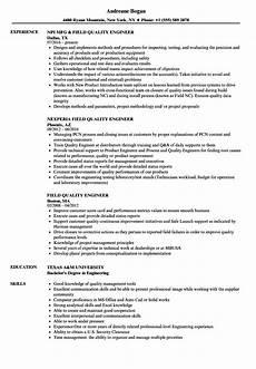 field quality engineer resume sles velvet jobs