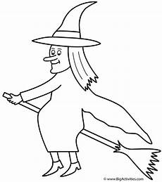 witch on broom coloring page