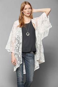 urban outfitters black hearts brigade lace kimono jacket in white lyst