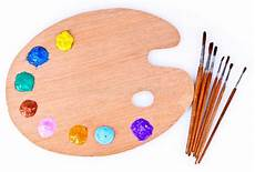 Wooden Palette Of Paint And Brush Stock Image Image