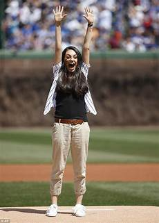 Gamis Kumis mila kunis throws the pitch at chicago cubs