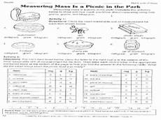 measuring mass is a picnic in the park 6th 8th grade worksheet lesson planet