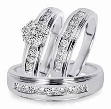 3 4 ct t w diamond trio matching wedding ring 14k