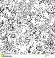 seamless pattern with poppy flowers daffodil anemone violet in stock vector illustration of