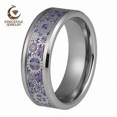 silver wedding band tungsten rings for men mechanical gear wheel purple carbon fiber inlay