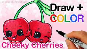 How To Draw  Color Shopkins Cheeky Cherries Step By