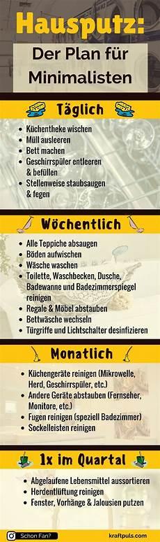 Hausputz Der Putzplan F 252 R Minimalisten Infografik