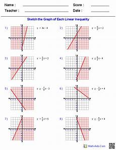 graphing inequalities worksheets graphing linear inequalities algebra worksheets linear function