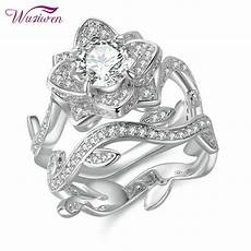 vintage flower cz sterling silver wedding engagement