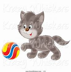 critter clipart of a playful cute gray striped reaching his paw towards a colorful ball by