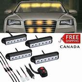 4X AMBER RECOVERY CAR STROBE 6 LED LIGHTS ORANGE GRILL