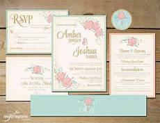 wildflower flourish printable wedding invitation set