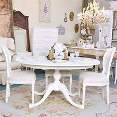 Shabby Cottage Chic White Oval Pedestal Dining Table