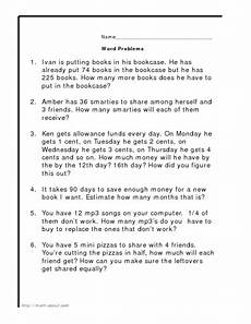 word problems addition subtraction multiplication division worksheet for 4th grade lesson