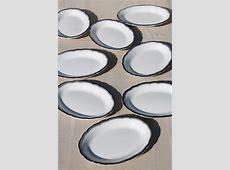 mod vintage black, grey, white china oval dinner plates