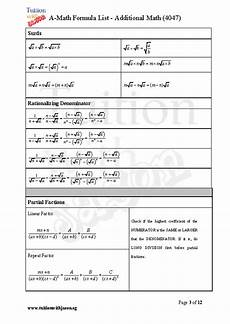 math formulas sheet additional math a math and math e math formula sheet for gce o levels