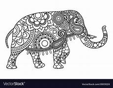indian elephant coloring pages template royalty free vector