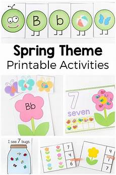 spring theme printables and activities for preschool and