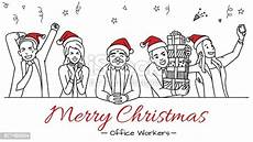 office workers celebrate merry christmas stock vector art more images of 877485554 istock