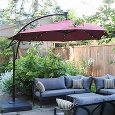 hton bay 11 ft led offset solar umbrella review luxurious shade