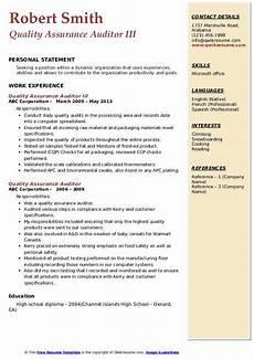 quality assurance auditor resume sles qwikresume