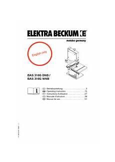 elektra beckum bas 316g wnb manuals