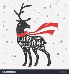 christmas deer merry christmas happy new stock illustration 485980396