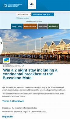 wa seniors win an overnight stay at the busselton motel