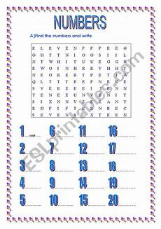 numbers 1 20 esl worksheet by dido