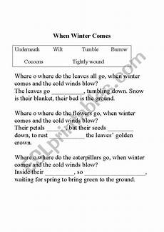 winter cloze activities worksheets 19955 when winter comes cloze passage esl worksheet by katierichardson
