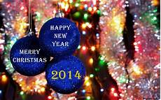 merry christmas and happy new year 2014 blue christmas tree toys wallpapers and images