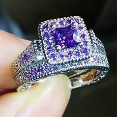 10kt white gold filled amethyst princess cut wedding diamond ring sets for ebay