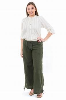 Pantalon Large Classique Femme Homme Kaki Fz2938