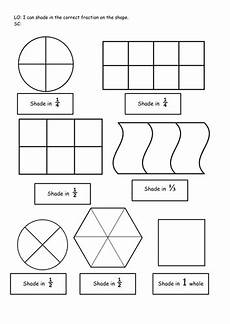 fraction shaded in worksheets 3980 ks1 year 1 shade in the correct fraction shape 1 2 and 1 4 differentiated teaching