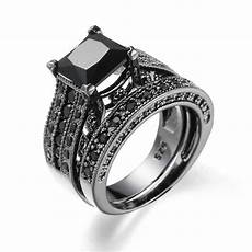 2019 2 in 1 womens vintage black silver engagement wedding band ring bts ring ringen voor