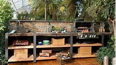Outdoor Küche Holz - die outdoork 252 che wood line xl mit steinr 252 ckwand garten