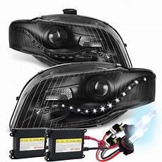 hid xenon 2002 2005 audi a4 s4 led drl projector headlights black
