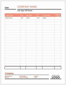 sign off sheets for ms word word excel templates