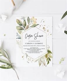 gold greenery couples shower invitation bridal shower invitation template diy editable pdf