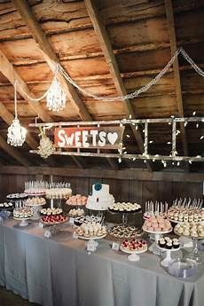 cocoa fig barn wedding dessert table and 2 tier cake for allison and