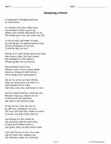 analyzing poetry worksheet answer key 25546 analyzing a poem grades 11 12 free printable tests and worksheets helpteaching